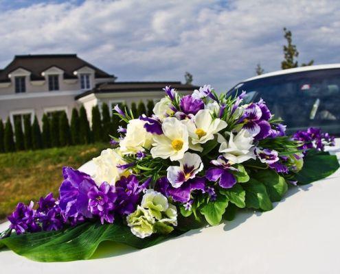 Blumenschmuck 6: Lila Weiß